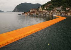 Three kilometres of yellow pathways temporarily connect the shore of Italy's Lake Iseo to islands in its centre as part of this installation by Christo