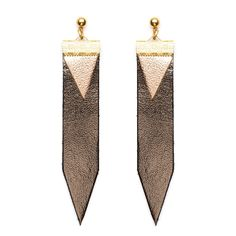 Nana - Bronze Leather Earings by Charly James