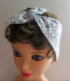 Fabric Head Bandana Light Blue Bandana by CrochetnMoreByAlida