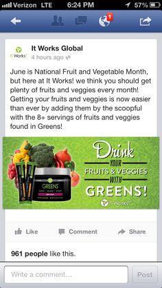 Get those fruit and veggie servings!!  #greens #detox #itworks #gethealthy #nationalfruitandvegetablemonth