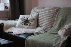 Bee Cushion, sheepskin, herringbone throw, fishermans throw