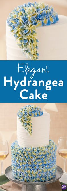 How to Make an Elegant Hydrangea Cake - Whether you're making a cake for a birthday, shower or wedding, this Elegant Hydrangea Cake is sure to impress. Decorated with stunning buttercream flowers, this cake is the perfect marriage between elegance and class.