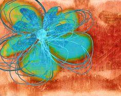 Flower  Whimsy In Blue by Ann Powell #art #painting #abstract #flowers #wallart  Painting  - Flower  Whimsy In Blue Fine Art Print