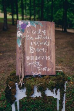 a cord of three strands is not easily broken wedding sign