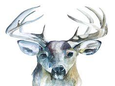 Oh, Deer Watercolor Print, Watercolor Paper, Oh Deer, Eye For Detail, Love Photos, Antlers, Moose Art, Hand Painted, Etsy
