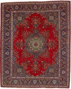 Red Tabriz Area Rug. 10'3x12'5 beautiful blue and red but low pile, won't be soft.  Approx $2700