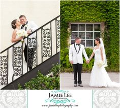 8th Avenue South | Naples Wedding Photographer | Jamie Lee Photography | Outdoor Portraits of Bride and Groom on Stairs and in Front of Vines