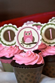 PDF Modern Owl Girl Birthday/ Baby Shower Cupcake Toppers & Wrappers- Printable DIY on Etsy, $6.99