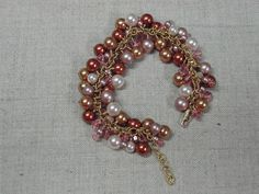 """Swarovski Crystal Pearl bracelet, with Swarovski crystals and 14k gold-filled chain & findings. Made for my sister's """"birthday with a zero"""" ! ;-)"""