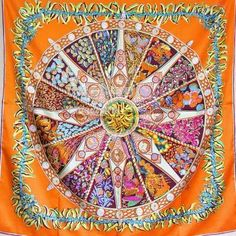 e1bc0a3beb0c Hermes aux pays des epices annie faivre hermes carre scarf silk twill scarf  hand rolled orange color for this style ,it is orang.