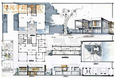 club - Architecture drawing sheet: Laminate of a totally freehand architecture project - Architecture Concept Drawings, Architecture Sketchbook, Architecture Panel, Architecture Portfolio, Architecture Design, Architectural Drawings, Presentation Board Design, Architecture Presentation Board, Interior Design Sketches
