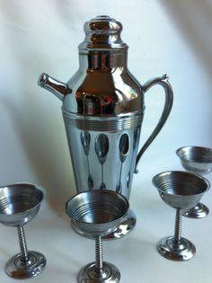 Martini shaker set | Chrome Cocktail Shaker Set - Art Deco