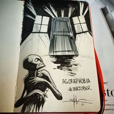Agoraphobia - day 17 of #inktober illnesses/disorders #illustration #inktober2016 #fear #phobia #creepy