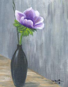 Oil painting... Dahlia. Love Painting, Dahlia, Glass Vase, Paintings, Artist, Flowers, Pictures, Home Decor, Kunst