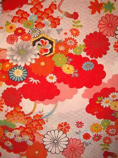 red, traditional Japanese motif in polyester - NB still has some for baby futon Japanese Textiles, Japanese Patterns, Japanese Prints, Pattern Texture, Pattern Art, Kimono Pattern, Japanese Paper, Japanese Fabric, Textures Patterns
