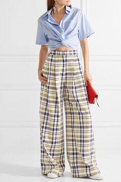 Adam Lippes - Pleated Plaid Cotton Wide-leg Pants - Yellow - US12