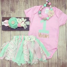 Pink And Gold First Birthday Outfit, Vintage Birthday, Pink Mint gold Tutu, Shabby Birthday Outfit, Chunky Necklace, OTT Headband by MamasMini on Etsy