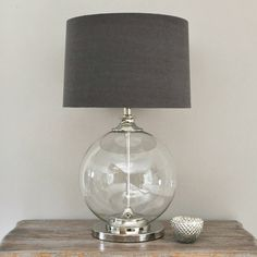 Glass Ball Table Lamp & Grey Shade (Table and bedside lamp) Large Console Table, Large Table Lamps, Grey Table Lamps, Bedside Table Lamps, Bedroom Lamps, Desk Lamp, Grey Lamps, Lamp Table, Silver Bedside Lamps