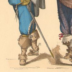 Men's shoes | French Fashion History - Costumes of Paris - 17th Century - XVIIth Century - Nobility - Mode - Fashion during the Reign of Louis XIII of France (1615-1630) Original steel engraving drawn by Tamisier. Original hand-colored. 1878