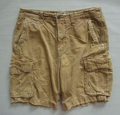 """American Eagle Classic Length Cargo Shorts 36 10"""" Dk Tan Camel Distressed Twill #AmericanEagleOutfitters #Cargo"""