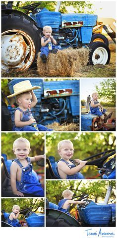 tractor theme photoshoot Down on the Farm with Deanie // Rockwall, TX Stylized Child . Tractor Pictures, Farm Pictures, Country Family Photos, Kids Photography Boys, Farm Photography, Newborn Bebe, 2nd Birthday Photos, Toddler Pictures, Boy Photo Shoot