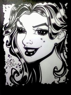 Girl eyes cherry ink. Art by Leandro Sans.