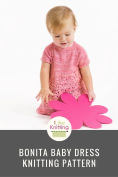 This seamless, baby girl dress worked in the round from the top down. The front and the back up to the bodice are knit plain then the body is worked in Estonian flower pattern to the end of the full princess skirt. After the raglan yoke is complete, the sleeves and body are separated. This is designed with positive ease, so there will be lots of room to grow into it.