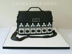 """Black Beaded Satchel"" - Cake by Laura Loukaides GOLD MEDAL 3RD IN CLASS - Cake International - Birmingham NEC 2015 www.facebook.com/LauraLoukaidesCakes"