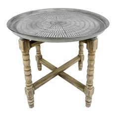 round moroccan wood end table bargu mango wood side table