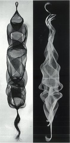 Wow these look like smoke at first glance. Kay Sekimachi, Amiyose (quadruple and tubular weave, nylon monofilament), 1965.