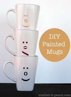 Emoticon Mugs - DIY painted coffee cups