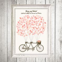 You'll look sweet upon the seat of a bicycle built for two! Your guests fingerprints will look very sweet floating above this pretty tandem bike like balloons. Surprise guests with this beautiful alternative to the traditional guest book which becomes a beautiful piece of art to hang on your wall.  Here you can purchase a digital file of the bicycle and balloon wires. Customised with your names and wedding date. Simply have different shaded ink pads available on the day for guests to leave…