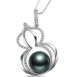 gvbori tahiti black pearls & diamond pendant+925 sterling silver chain…
