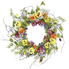 Faux Pansy & Wildflower Wreath