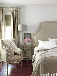 Neutral bedroom in a formal Alabama home by Tracery Interiors, patterns and textures give a greige bedroom subtle richness. Walls are Benjamin Moore's Revere Pewter. The Bernhardt bed in natural linen is from Three Sheets. Throw pillow from Ankasa. Gray Bedroom, Home Bedroom, Master Bedroom, Bedroom Decor, Serene Bedroom, Neutral Bedrooms, Neutral Bedding, Extra Bedroom, Linen Bedroom