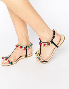 ASOS FACTORY Pom Pom Flat Sandals