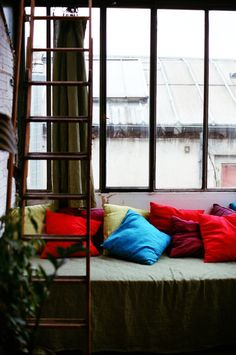 what a great idea! have a basic color couch and add crazy awesome and misc pillows :)
