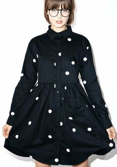 Lazy Oaf Big Dot Shirt Dress wants to connect its dots with yew, bb. This super cute shirt dress features all over polka dot prints, a fitted long sleeve bodice, cinched waist with a flare skirt, patch pocket, and button up closure in the front n back.