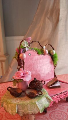 Fancy Fairy Sweet Pink Parlor Set by maryfontones on Etsy, $33.00
