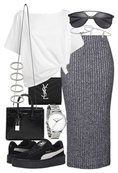 """Untitled #19438"" by florencia95 ❤ liked on Polyvore featuring Topshop, Yves Saint Laurent, Red Herring, Michael Kors, Humble Chic, Puma and Forever 21"