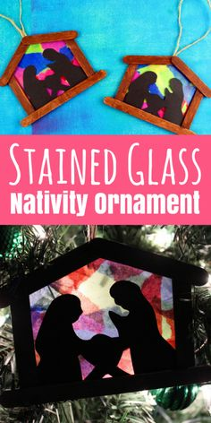 DIY Stained Glass Nativity Ornament, DIY and Crafts, DIY ornaments make excellent keepsake crafts or gifts! These stained glass nativity ornaments are awesome for big kids to complete independently, or g. Nativity Ornaments, Nativity Crafts, Ornament Crafts, Diy Ornaments, Kids Ornament, Christmas Ornaments, Santa Crafts, Dough Ornaments, Christmas Crafts For Kids To Make