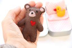 wee TEDDY DOLL in TIN house Doll Tin Felt Teddy by DOLITTLECRAFTS