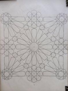 Rosette by Margi Lake pt star surrounded by 8 pointed stars Islamic Motifs, Islamic Art Pattern, Arabic Pattern, Persian Motifs, Pattern Art, Geometric Patterns, Geometric Shapes, Motif Arabesque, Motif Oriental