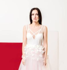 White silk flower  dress   Bodysuit and skirt, Ivory, soft rose pink. Decorated with handmade silk flowers, Wedding, bridal dress 2018summer