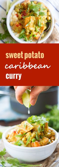 Green peas, garbonzo beans and sweet potato chunks are simmered in spiced coconut milk and served atop creamy polenta to create this cozy Caribbean curry.