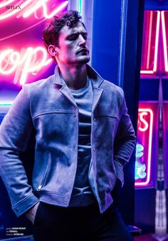 """Sam Webb in """"West End Boys"""" by Joseph Sinclair for the October-November 2015 Issue of Reflex Homme Magazine Colour Gel Photography, Portrait Photography Men, Photography Poses For Men, Night Photography, Fashion Photography, Fashion Model Poses, Night Portrait, Men Photoshoot, Creative Photos"""