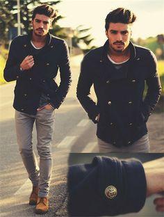navy jacket, skinny grey jeans