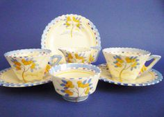 One of the loveliest of Burleigh Ware designs produced on the classic art deco Zenith shape Lemon Tree is a vibrant combination of blues yellow and Art Deco, Art Nouveau, Earthenware, Stoneware, Breakfast Set, Absolutely Fabulous, Coffee Set, Vintage Dishes, Vintage Pottery