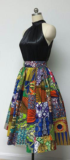 African Print Patchwork Midi Skirt. Inside by NanayahStudio