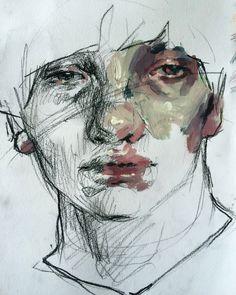 Acrylic and charcoal portrait